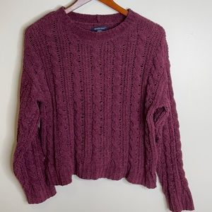 American Eagle burgundy chenille cable knit chunky oversized sweater Small